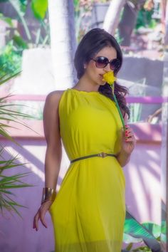 Denise Milani preview of her set Yellow Dress.