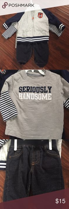 "Carters 6 mo 3 piece outfit Carters 3 piece outfit. Long sleeve ""Handsome"" tshirt, zippered Rookie hoodie, and knit denim pants. Tshirt has horizontal detailing that makes it look distressed as shown in last pic. 6 mos. Excellent condition, smoke free home Carter's Matching Sets"