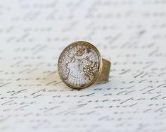 Cocktail Ring Map Ring Gift For Traveler World by JacarandaDesigns, $15.00