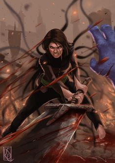 Blood Bath by 0oSquallo0.deviantart.com on @DeviantArt (Vin from Mistborn)