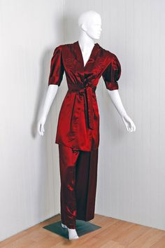 Brucewood-Rothschild 1930's satin lounging pajamas