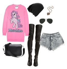 """""""Untitled #16"""" by encsikee on Polyvore featuring Yves Saint Laurent, Moschino and Ray-Ban"""