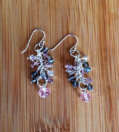 Pink and Gray Swarovski Crystal Earrings on Silver  on Etsy, $22.00