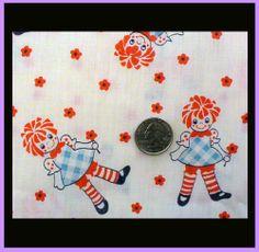 Vintage 1970s Cotton Fabric Raggedy Ann Print Children's Material