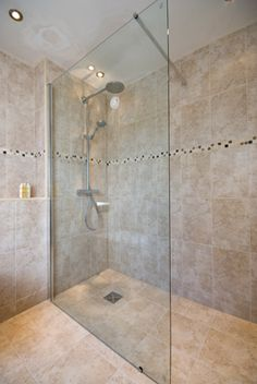 Wet Floor And Single Glass Panel For Shower In Ensuite Would Allow Super Spacious Showering