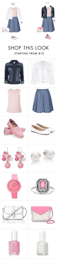 """Daisy sleeveless blouse/chambray skirt set 1"" by tracy-gowen ❤ liked on Polyvore featuring MANGO, Current/Elliott, White Stuff, TOMS, Chloé, Mixit, Mikimoto, Crayo, L.K.Bennett and Essie"