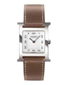 P6115 Hermès Heure H Watch on a Smooth Etoupe Calf Strap