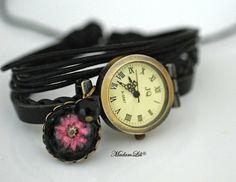 Echte Blüte Echtleder Armbanduhr