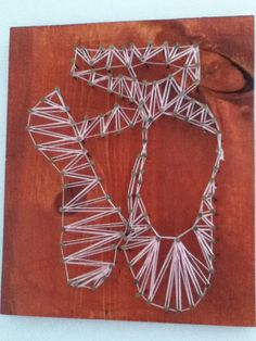 Ballet shoe nail string art