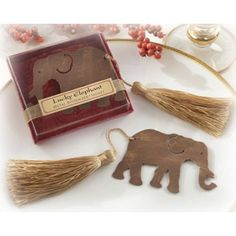 """Lucky Elephant"" Metal Bookmark with Elegant Gold Silk Tassel 