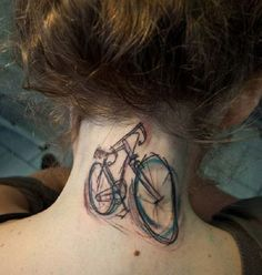 Bicycle watercolor tattoos on neck for girls