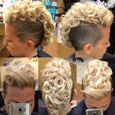#hairdare #womenshair #beauty #hairstyles #mohawk Short Curly Hair, Short Hair Cuts, Curly Hair Styles, Natural Hair Styles, Undercut Hairstyles, Funky Hairstyles, Wedding Hairstyles, Undercut Mohawk, Shaved Hair Designs