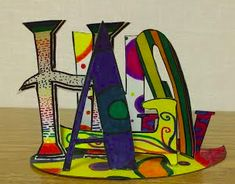 Name Sculpture The first project I had my students do was a name sculpture. This was the inspiration for the project (scro. Sculpture Lessons, Sculpture Projects, Sculpture Art, Elementary Art Rooms, Art Lessons Elementary, 3d Art Projects, 7th Grade Art, Name Art, Middle School Art