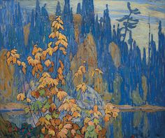 """Autumn, Algoma,"" Lawren S. Harris, oil on canvas, Art Collection of Victoria University. Tom Thomson, Emily Carr, Canadian Painters, Canadian Artists, Art And Illustration, Landscape Art, Landscape Paintings, Group Of Seven Artists, Tree Art"