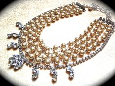 Chunky Pearl Necklace Rhinestone Wedding by JNPVintageJewelry