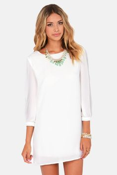 Try as they might, those other shifts just can't compare to the World's Greatest Ivory Shift Dress! Lightweight, woven material forms the perfect shift silhouette. White Shift Dresses, Little White Dresses, Cute Dresses, Short Dresses, Summer Dresses, Casual Dresses, Party Dresses, Pretty Outfits, Cute Outfits