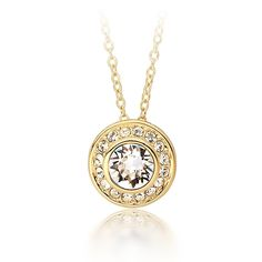 MYJS Angelic 16k Gold Plated Classic Necklace with Clear Swarovski Crystals , 16 2' Extender * You can find out more details at the link of the image. #Necklaces