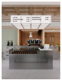 Cafe Shop Design, Coffee Shop Interior Design, Kiosk Design, Cafe Interior, Retail Design, Architecture Restaurant, Restaurant Design, Cafe Deli, Cafe Concept