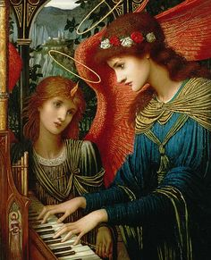 St Cecilia John Melhuish Strudwick (British, Pre-Raphaelite, Oil on panel. St Cecilia plays a piano while an angel looks on. St Cecilia is the patron. Santa Cecilia, Your Paintings, Beautiful Paintings, Patron Saint Of Music, Charles Edward, Augustin Lesage, Pre Raphaelite Paintings, Sainte Cecile, John Everett Millais