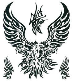 "Tribal Eagle Large Temporary Body Art Tattoos 8"" x 7.5"" TMI"