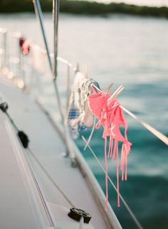 This is what happens with a woman on board....LOL bikinis hang drying on a boat // summer // on the water