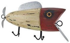 popper lure wooden plaque | Wooden Plug Fishing Lure Wall Plaque with Hooks traditional-wall-hooks