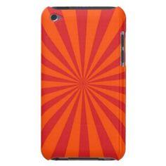 Orange Sun Burst Sun Rays Pattern Barely There iPod Covers