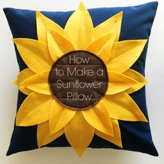 Learn how to make a sunflower pillow with these easy step by step instructions and free printable templates. They make the perfect addition to any couch!