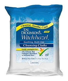 Dickinson's Witch Hazel New Soothing Multi-Use Cleansing Cloth, 25 Count Neutrogena Makeup Remover, Best Makeup Remover, Makeup Removers, Acne Prone Skin, Oily Skin, Sensitive Skin, Best Face Wipes, Witch Hazel Astringent, Cleaning