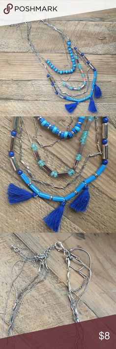 Layered Tassel Necklace Silver, blues and greens. 5 strands all attached by an adjustable clasp. Worn once. From Target. Jewelry Necklaces