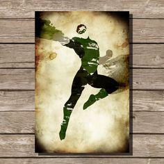 Green Lantern splatter print movie poster art print Hal Gordon comic book art fan art