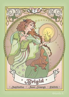 Brigid - Coloured page by Aurelie-S.deviantart.com on @DeviantArt another character featured in my Celtic Colouring Book. Get your copie of the book for only $9.99 : https://www.amazon.com/Celtic-Colouring-Mythology-Characters-Symbols/dp/1541035593 or contact me to get the artist edition!