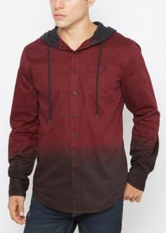 All of the style of your favorite button down, combined with the comfort of a hoodie. This woven top is outfitted with a dip dye design, sporting a buttoned chest pocket and knit hood.