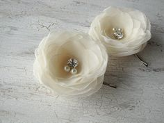 Bridal hair pins sheer voile flowers bobby pins by JujaCrafts