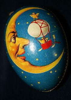Unusual Antique German Easter Egg Candy Container with Moon image