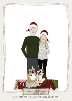 Family Christmas Cards, Family Illustration, Connect, Marriage, Portraits, Group, Boutique, Comics, Digital