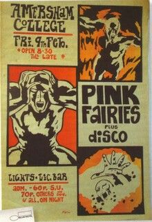 PINK FAIRIES plus disco. 2/9/71 Amersham University. Looks maybe like a TEENBURGER/BARNEY BUBBLES flyer?? Comic looks like it - but not the lettering. MATCHES STATUS QUO '72 gig at Farnborough Tech S.U.