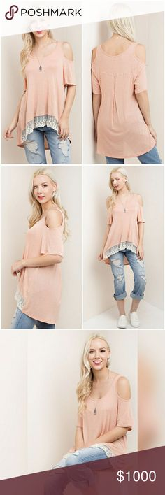 Coming Soon Cold Shoulder Lace Bottom Tee ?Like this listing to be notified when this comes in.  Loose fitting hi low cold shoulder top with lace bottom trip.  Material:LINEN RAYON TOP LACE BOTTOM Tops Blouses