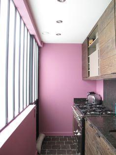 Narrow but pink kitchen :)