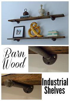 Hanging #barnwood #industrial shelves in the guest bedroom for under $50. #diy chatfieldcourt.com