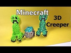 Rainbow Loom Minecraft 3D CREEPER Charm. Designed and loomed by DIYMommy. Click on photo for YouTube tutorial. 03/25/14