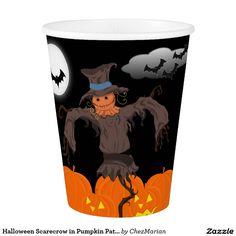 Halloween Scarecrow in Pumpkin Patch Paper Cups