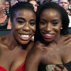 Pin for Later: Go Behind the Scenes With the Stars at the Emmys  Uzo Aduba brought her sister as her date.