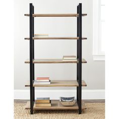 Display your treasures with the York brown 5-tier etegere. The etegere is crafted from solid elm wood and is finished in a lush brown. It features spacious shelves which provide ample storage space.