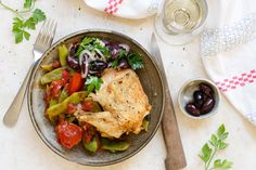 Roasted chicken with braised romano beans and tomatoes