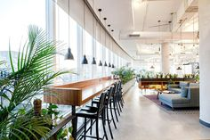 We love this idea for a corporate office design! It's light & airy! Corporate Office Design, Open Office Design, Industrial Office Design, Office Interior Design, Office Interiors, Office Designs, Corporate Offices, Open Concept Office, Design Studio Office
