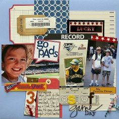 Scrapbooking baseball with digital or traditional supplies
