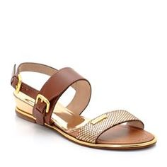 """Bichon"" Sandals in Lizardskin Effect Gold-Coloured Leather"