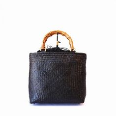 ラタンメッシュバンブーハンドルハンドバッグ スモールトート | タイ工藝ムラカ