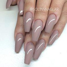 Mocha Brown Square Tip Acrylic Nails